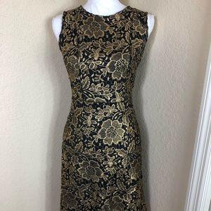 Euc Ryan Michelle black & gold lace dress S